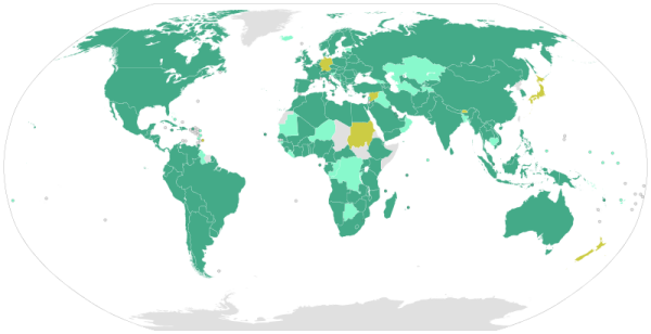World map with United Nations Convention against Corruption ratifiers in green and signatories in orange (as of Feb 2014)